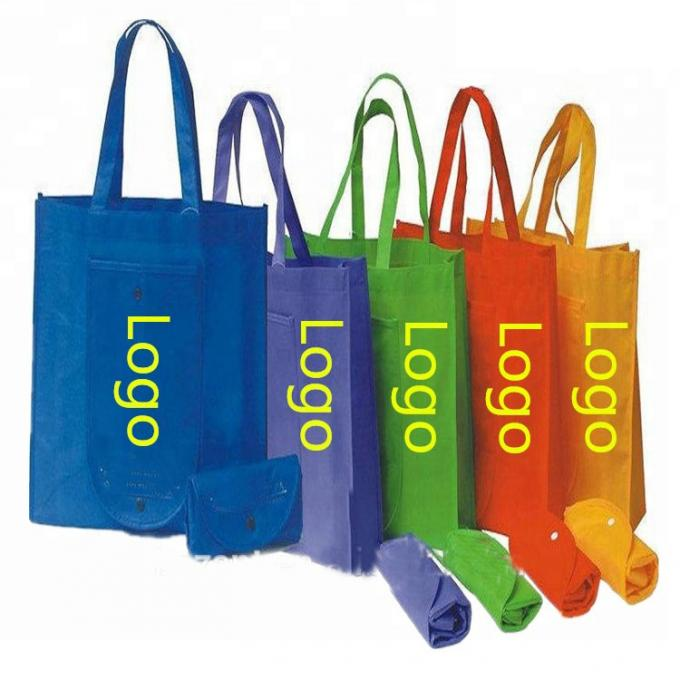 Promotional Non Woven Reusable Shopping Bag Folds Into Itself Custom Logo