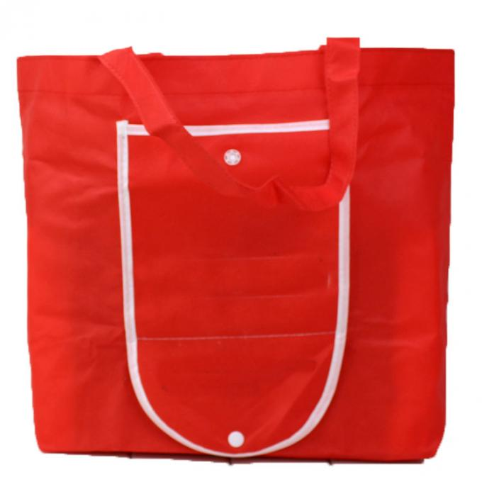 Red Non Woven Reusable Shopping Bags That Fold Into Themselves Recyclable